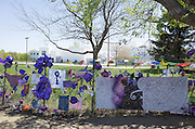 View of Prince's memorial fence surrounding Paisley Park Studios. Chanhassen Minnesota MN USA