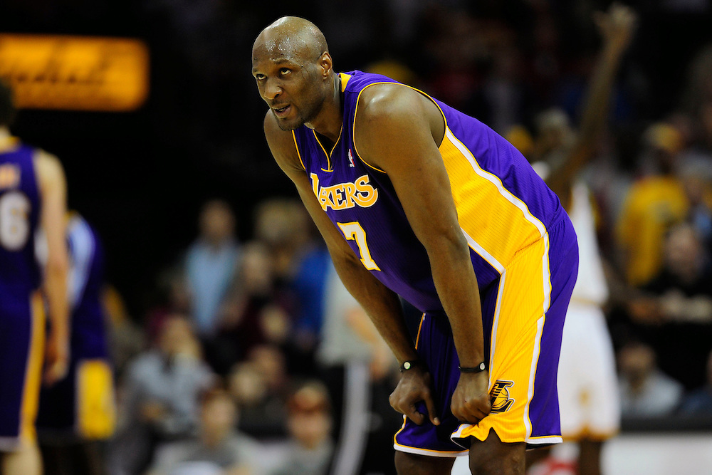 Feb. 16, 2011; Cleveland, OH, USA; Los Angeles Lakers power forward Lamar Odom (7) looks to the scoreboard during the final seconds of the fourth quarter against the Cleveland Cavaliers at Quicken Loans Arena. The Cavaliers beat the Lakers 104-99. Mandatory Credit: Jason Miller-US PRESSWIRE