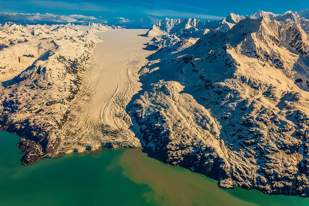 Aerial view of Lamplugh Glacier, Glacier Bay National Park, southeast Alaska USA. Glacier Bay is a UNESCO World Heritage Site.