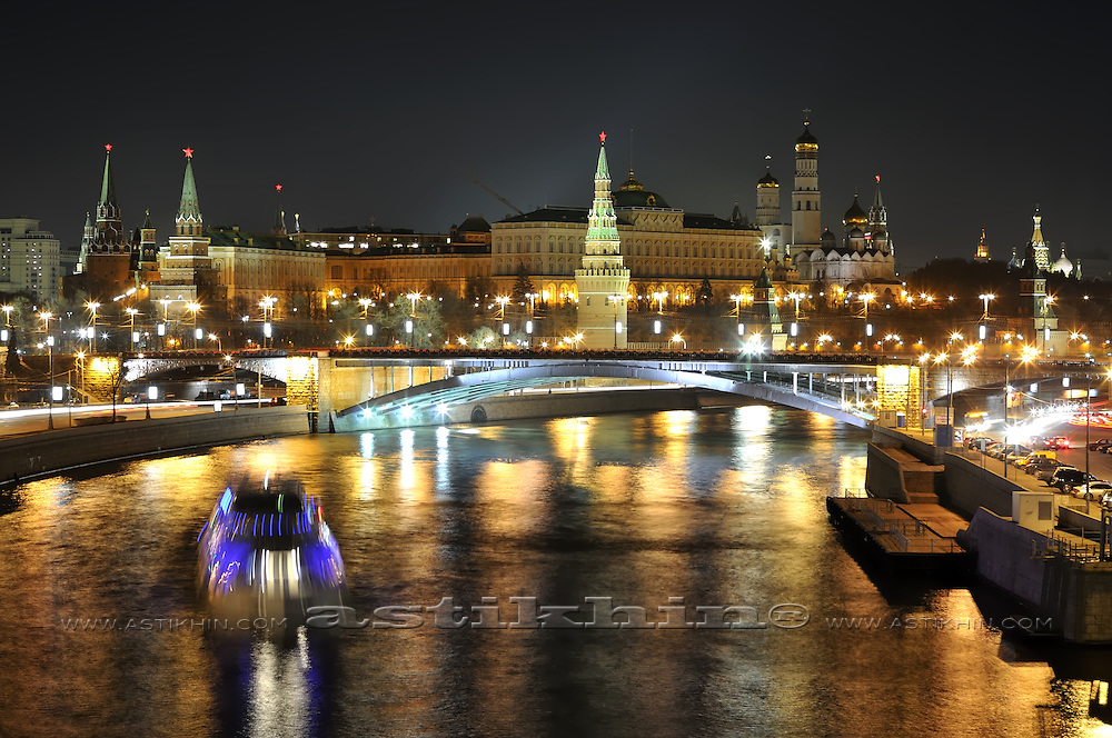 Kremlin and Bolshoy Kamenny Most, Moscow Russia at night.
