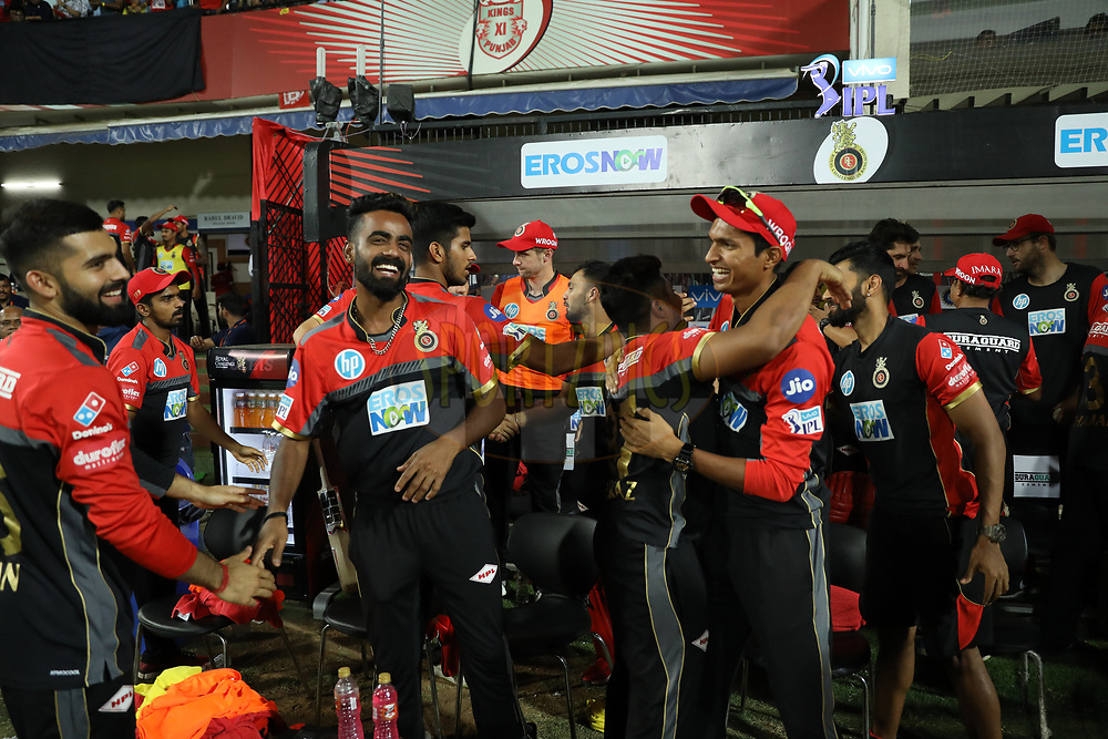 Royal Challengers Bangalore players celebrate win during match forty eight of the Vivo Indian Premier League 2018 (IPL 2018) between the Kings XI Punjab and the Royal Challengers Bangalore held at the Holkar Cricket Stadium, Indore on the 14th May 2018.<br /> <br /> Photo by: Arjun Singh /SPORTZPICS for BCCI