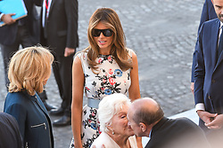 L-R : Brigitte Macron, Line Renaud, US First Lady Melania Trump and Gerard Collomb seen as they attend Bastille Day Military Parade, Place de la Concorde, in Paris on July 14, 2017. Photo by Ammar Abd Rabbo/ABACAPRESS.COM