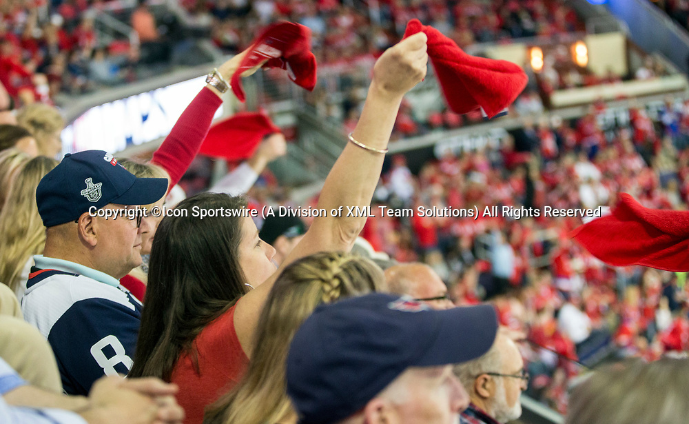 WASHINGTON, DC - MAY 21: Caps fans wave their rally towels before game 6 of the NHL Eastern Conference  Finals between the Washington Capitals and the Tampa Bay Lightning, on May 21, 2018, at Capital One Arena, in Washington D.C. The Caps defeated the Lightning 3-0<br /> (Photo by Tony Quinn/Icon Sportswire)
