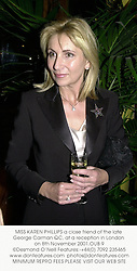 MISS KAREN PHILLIPS a close friend of the late George Carman QC, at a reception in London on 8th November 2001.OUB 9