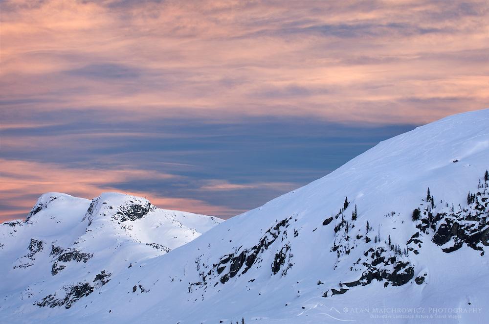 Winter sunset over Coast Mountains British Columbia