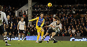 Preston North End Striker Will Keane strikes during the Sky Bet Championship match between Fulham and Preston North End at Craven Cottage, London, England on 28 November 2015. Photo by Pete Burns.