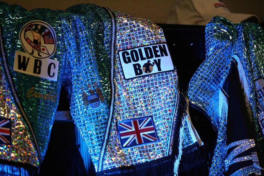 Ricky Hatton's shorts and robe in the locker room before the fight. Ricky Hatton v Floyd Mayweather, Las Vegas, Nevada.