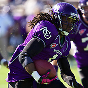 ACU running back Daryl Richardson runs for a first down on the Wildcat's opening drive Saturday during a 47-17 victory over Southwestern Oklahoma State, taking the Lonestar Conference title and completing the regular season undefeated..photo by Gary Rhodes