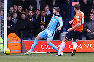 Andy Drury of Luton Town (right) scores the opening goal against Cambridge United as Greg Taylor of Cambridge United (left) looks on during the Sky Bet League 2 match at Kenilworth Road, Luton<br /> Picture by David Horn/Focus Images Ltd +44 7545 970036<br /> 31/01/2015