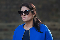 © Licensed to London News Pictures. 12/09/2017. London, UK. Secretary of State for International Development PRITI PATEL arrives at 10 Downing Street in London ahead of a cabinet meeting.  In the early hours of this morning government won a vote in Commons passing the EU repeal bill, by a margin of 326 to 290 votes. Photo credit: Ben Cawthra/LNP