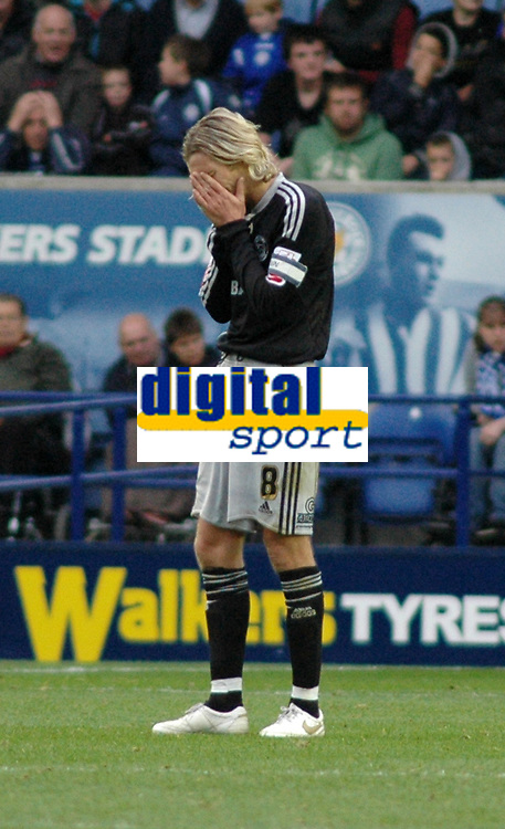 Photo: Tony Oudot/Richard Lane Photography. Leicester City v Derby County. Coca Cola Championship. 17/10/2009<br /> Robbie Savage of Derby holds his heads in his hands as the referee fouls to give Derby a penalty in added time