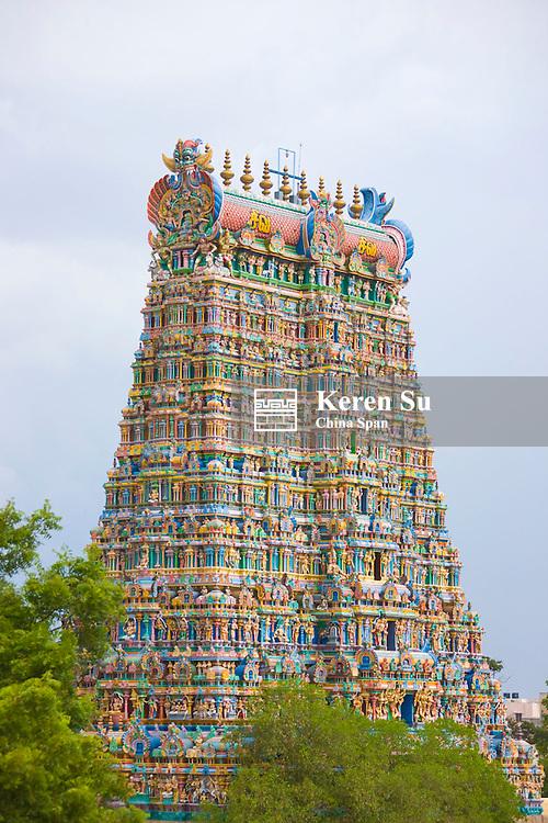 Tower in Sree Meenakshi Temple complex, Madurai, Tamil Nadu State, India