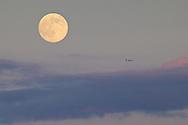 Middletown, New York - The full moon rises on July 10, 2014.