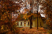 A cozy house ready for Halloween, surrounded by splendid Nova Scotia autumn foliage.