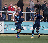 Forfar's David Cox celebrates with Chris McLauchlin after heading home his side's second goal during Forfar's 3-0 win over Clyde in SPFL League Two  at Station Park, Forfar, Photo: David Young<br /> <br />  - &copy; David Young - www.davidyoungphoto.co.uk - email: davidyoungphoto@gmail.com