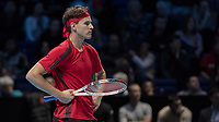 Tennis - 2017 Nitto ATP Finals at The O2 - Day Two<br /> <br /> Group Pete Sampras Singles: Dominic Thiem (Austria) Vs Grigor Dimitrov (Bulgaria)<br /> <br /> Dominic Thiem (Austria) stands with arms on hips waiting for the Hawkeye to rule on his challenge at the O2 Arena <br /> <br /> <br /> COLORSPORT/DANIEL BEARHAM