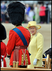 HM The Queen with Prince Phillip on Horse Guards Parade for the Queen's Trooping of the Colour, The Queen's Birthday Parade, Saturday June 16, 2012. Photo by Andrew Parsons/i-Images..All Rights Reserved ©Andrew Parsons/i-Images .See Special Instructions