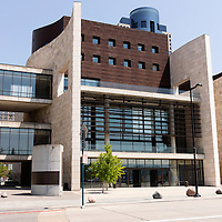 Photo of Cincinati National Underground Railroad Freedom Center. The museum is located in downtown Cincinnati and showcases the history of the Underground Railroad and slavery. Photo is high resolution and was taken in 2012.