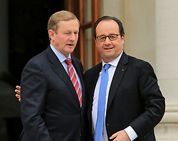 © Licensed to London News Pictures. 21/07/2016. Dublin, Ireland. Taoiseach Enda Kennny meets with French President Francois Hollande during his one day visit to the Irish Republic.  Photo credit: Paul McErlane/LNP