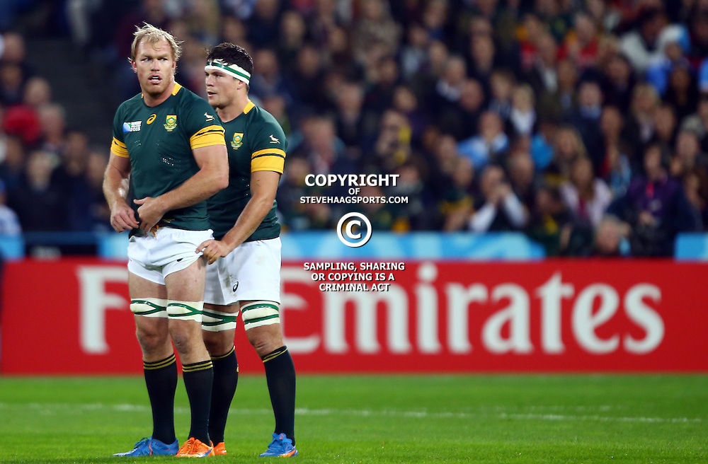 LONDON, ENGLAND - OCTOBER 30: Schalk Burger of South Africa with Francois Louw of South Africa during the Rugby World Cup 3rd Place Playoff match between South Africa and Argentina at Olympic Stadium on October 30, 2015 in London, England. (Photo by Steve Haag/Gallo Images)