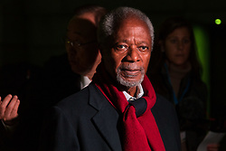 "London, October 23 2017. Nelson Mandela's group of Elders including former UN Secretary General Kofi Annan and Secretary General Ban Ki-moon accompanied by his widow Graca Machel gather at Parliament Square at the start of the Walk Together event in memory of Nelson Mandela before a candlelight vigil at his statue in Parliament Square. ""WalkTogether is a global campaign to inspire hope and compassion, celebrating communities working for the freedoms that unite us"". PICTURED: Former UN Secretary General Kofi Annan.  © Paul Davey"
