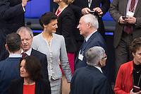 12 FEB 2017, BERLIN/GERMANY:<br /> Sarah Wagenknecht (L), Die Linke Fraktionsvorsitzende, und Oskar Lafontaine (R), Die Linke, Fraktionsvoritzender Landtag Saarland, im Gespraech, 16. Bundesversammlung zur Wahl des Bundespraesidenten, Reichstagsgebaeude, Deutscher Bundestag<br /> IMAGE: 20170212-02-012<br /> KEYWORDS: Gespr&auml;ch, Ehepartner, Ehefrau, Ehemann, Bundespraesidentenwahl, Bundespr&auml;sidetenwahl