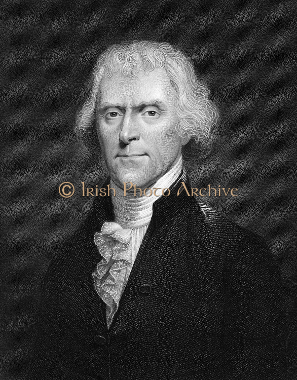 Thomas Jefferson (1743-1826) 3rd president of the USA. Engraving after portrait by Desnoyers