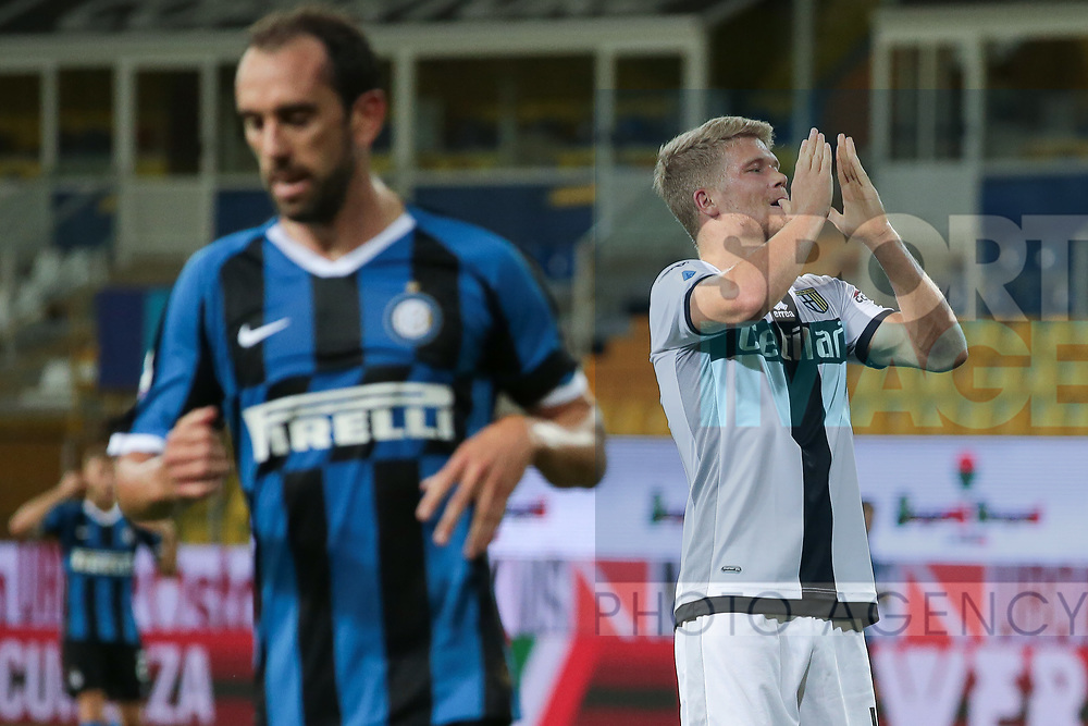 Parma Calcio's Danish striker Andreas Cornelius reacts after going close to scoring during the Serie A match at Stadio Ennio Tardini, Parma. Picture date: 28th June 2020. Picture credit should read: Jonathan Moscrop/Sportimage