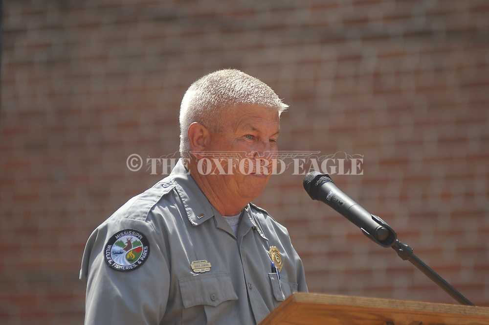 Game warden Bruce Jenkins speaks at Police Officer Memorial Day in Oxford, Miss. on Wednesday, May 11, 2011.
