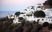 Whitewashed housing in village of Lindos, Rhodes, Greece