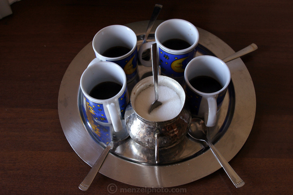 Coffee served to guests at home, Rome, Italy (Supporting image from the project Hungry Planet: What the World Eats)