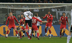 FRANKFURT, GERMANY - Wednesday, November 21, 2007: Wales' defenders James Collins, Carl Fletcher, Andrew Crofts, Daniel Gabbidon and Lewin Nyatanga block a last minute shot from Germany's Simon Rolfes during the final UEFA Euro 2008 Qualifying Group D match at the Commerzbank Arena. (Pic by David Rawcliffe/Propaganda)