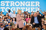 Hillary Clinton, presumptive 2016 Democratic presidential nominee, campaigns with Senator Tim Kaine (D-VA) to campaign at Northern Virginia Community College in Annandale, Va., U.S., on Thursday, July 14, 2016. Clinton and the former Virginia Governor discussed their shared commitment to building an America that is stronger together, while emphasizing that Donald Trump's divisive agenda would be dangerous for America. Kaine is considered to be the frontrunner for the Vice Presidential slot. Photographer: Pete Marovich/Bloomberg