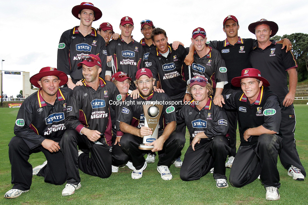 Northern Districts win the State Shield Cricket Final against Central Districts and Northern Districts at Pukekura Park, New Plymouth, New Zealand on Saturday, 12th February, 2005.<br />