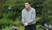 Gus Poyet prepares for his first tee shot during the Julian Speroni Testimonial Golf Day at the Surrey National Golf Club, Chaldon, United Kingdom on 9 September 2015. Photo by Michael Hulf.
