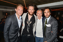 Left to right, ANDREAS HOLTZ, MARC BURTON, PIERS ADAM and DIEGO BIVERO-VOLPE at the launch of Geisha at Ramusake hosted by Piers Adam and Marc Burton at Ramusake, 92B Old Brompton Road, London on 11th June 2015.
