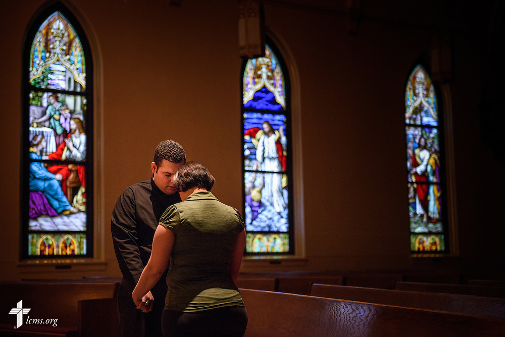Before the beginning of their day, Vicar David Blas, missionary-at-large at LCMS Sheboygan County Hispanic Outreach and St. John's Lutheran Church of Plymouth, Wis., prays with his wife Maria on Thursday, Jan. 28, 2016, at the church in Plymouth. LCMS Communications/Erik M. Lunsford