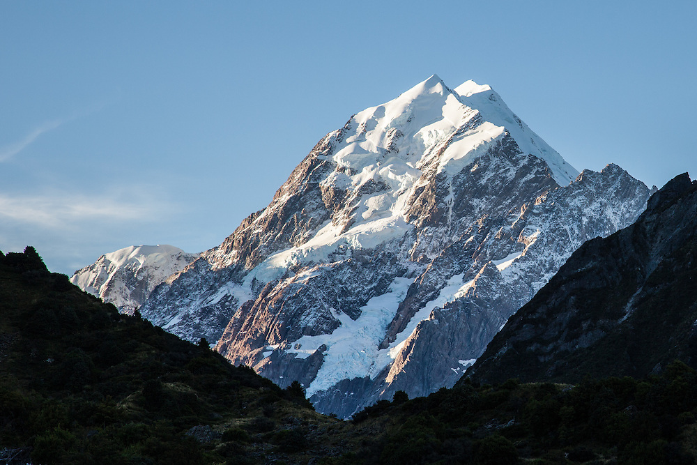 Mount Cook, at 3,700m the highest peak in NZ and dominating in the landscape