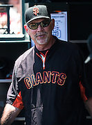 Bruce Bochy is smiling during an MLB game between the San Francisco Giants and the San Diego Padres, at AT&amp;T Park in San Francisco, CA.<br /> The Giants won 13-8 in 9 innings.<br /> Credit : Glenn Gervot