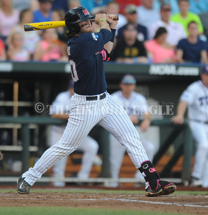 Mississippi's Will Allen (30) drives in two runs against TCU in the College World Series at T.D. Ameritrade Park in Omaha, Neb. on Thursday, June 19, 2014.