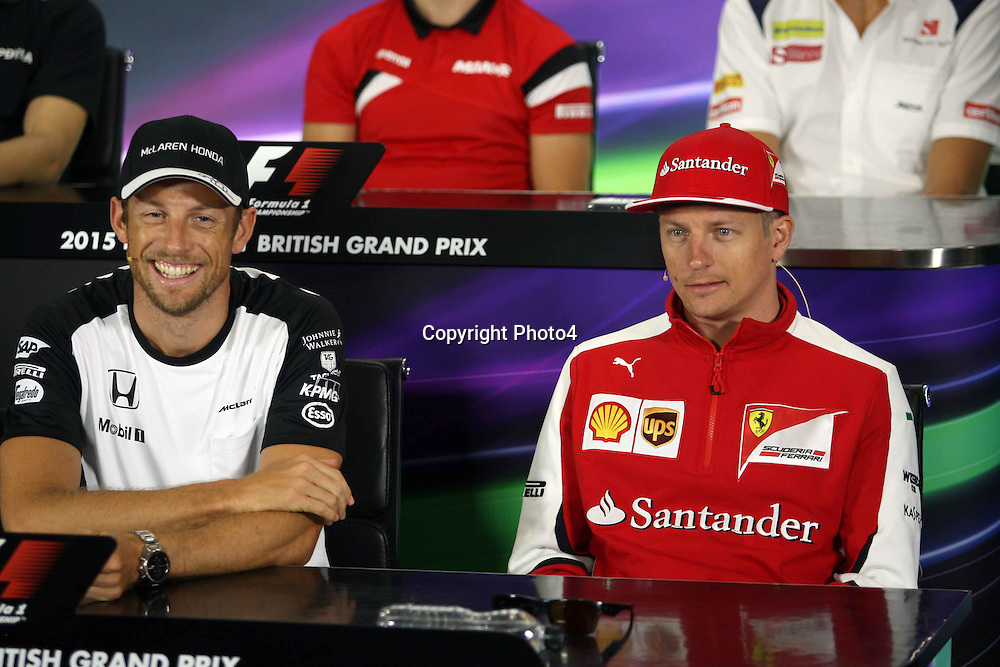 &copy; Photo4 / LaPresse<br /> 02/07/2015 Silverstone, England<br /> Sport <br /> Grand Prix Formula One England 2015<br /> In the pic: Press conference, Jenson Button (GBR)  McLaren Honda MP4-30. and Kimi Raikkonen (FIN) Scuderia Ferrari SF15-T