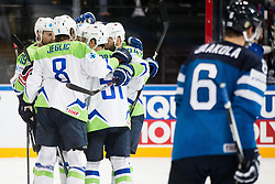 Players of Slovenia celebrate after scoring second goal during the 2017 IIHF Men's World Championship group B Ice hockey match between National Teams of Finland and Slovenia, on May 10, 2017 in AccorHotels Arena in Paris, France. Photo by Vid Ponikvar / Sportida
