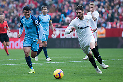 December 16, 2018 - Seville, Andalucia, Spain - Sergi Gomez  of Sevilla FC and Pedro Porro of Girona CF competes for the ball during the LaLiga match between Sevilla FC and Girona at Estadio Ramón Sánchez Pizjuán on December 16, 2018 in Seville, Spain  (Credit Image: © Javier MontañO/Pacific Press via ZUMA Wire)