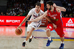 12.09.2014, City Arena, Madrid, ESP, FIBA WM, Frankreich vs Serbien, Halbfinale, im Bild France´s Heurtel (L) and Serbia´s Markovic // during FIBA Basketball World Cup Spain 2014 semifinal match between France and Serbia at the City Arena in Madrid, Spain on 2014/09/12. EXPA Pictures © 2014, PhotoCredit: EXPA/ Alterphotos/ Victor Blanco<br /> <br /> *****ATTENTION - OUT of ESP, SUI*****