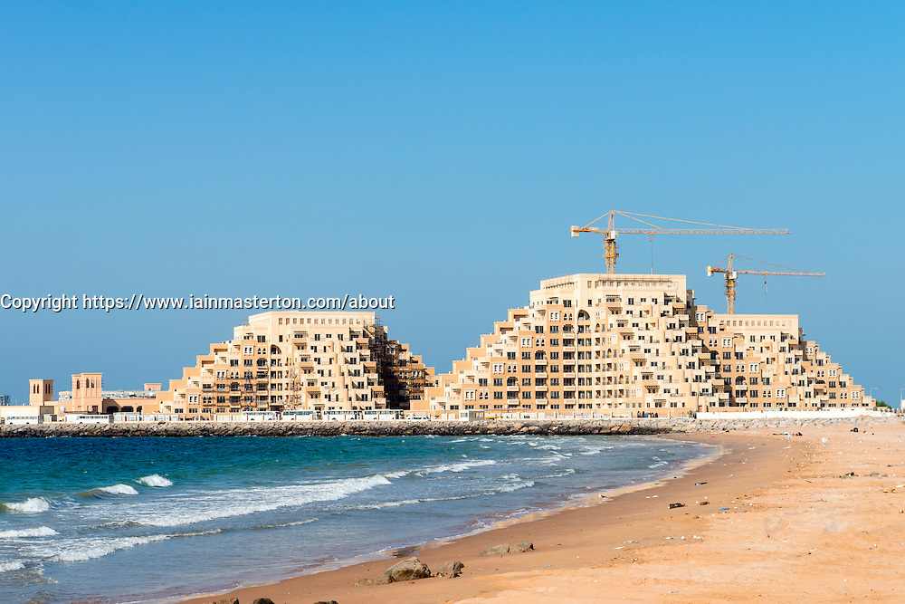 New residential apartment buildings under construction on Al Marjan Island in Ras al Khaimah United Arab emirates UAE