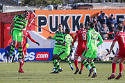 Forest Green Rovers Farrend Rawson(20) heads the ball clear during the EFL Sky Bet League 2 match between Accrington Stanley and Forest Green Rovers at the Wham Stadium, Accrington, England on 17 March 2018. Picture by Shane Healey.