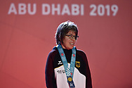 Abu Dhabi, United Arab Emirates - 2019 March 15: Stefanie Lutz from Germany with trophy in roller skating during Special Olympics World Games Abu Dhabi 2019 on March 15, 2019 in Abu Dhabi, United Arab Emirates. (Mandatory Credit: Photo by (c) Adam Nurkiewicz)