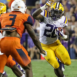 Sep 23, 2017; Baton Rouge, LA, USA; LSU Tigers running back Darrel Williams (28) runs against the Syracuse Orange during the second quarter of a game at Tiger Stadium. Mandatory Credit: Derick E. Hingle-USA TODAY Sports