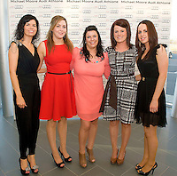 TV3's Sinead Desmond launched the brand new Audi A6 in the exclusive Michael Moore Car Sales Athlone along with a evening of amazing Fashion from top boutiques in the Midlands produced by Mandy Maher of Catwalk Model Agency all in aid of Console & NBCRI.   At the event was From Portarlington, Orla Whelan,  Andrea Costello, Janet Laurence, Rebecca and Orla Moran. Photo:Andrew Downes.