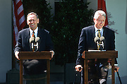 President Bill Clinton holds a joint press conference with Canadian Prime Minister Jean Chrétien in the Rose Garden April 8, 1997 in the White House.